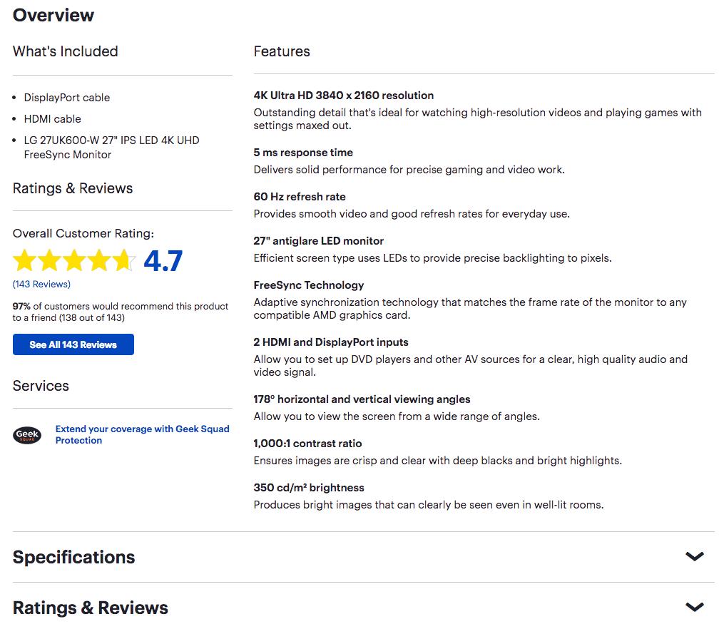 Ejemplo de cómo mostrar las especificaciones de un producto en la descripción.