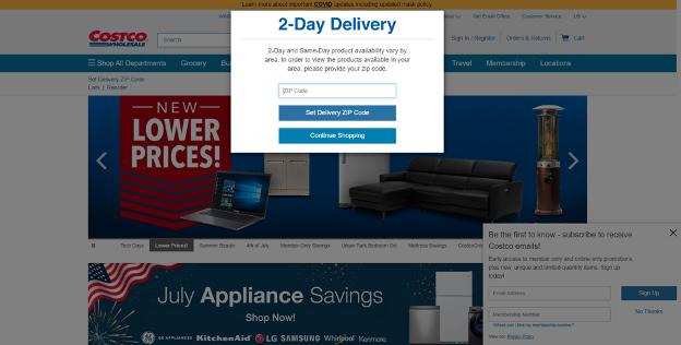 Costco's homepage
