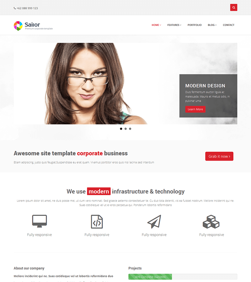 Corporate bootstrap landing page template
