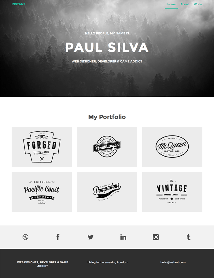 Bootstrap landing page template for freelances