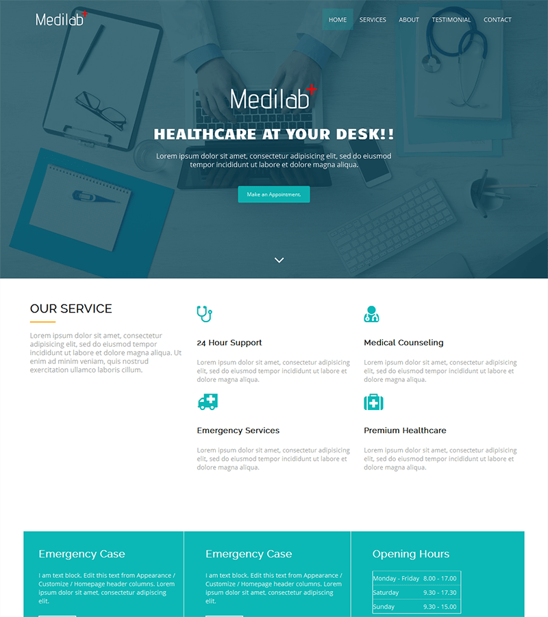 Bootstrap landing page template for medical industry