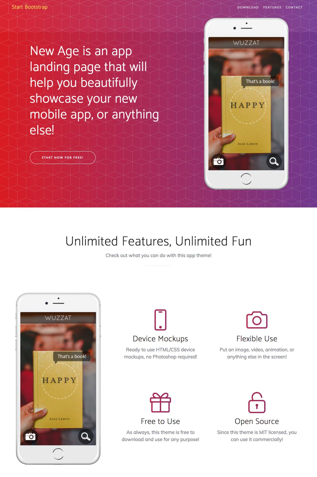Bootstrap landing page template for mobile app