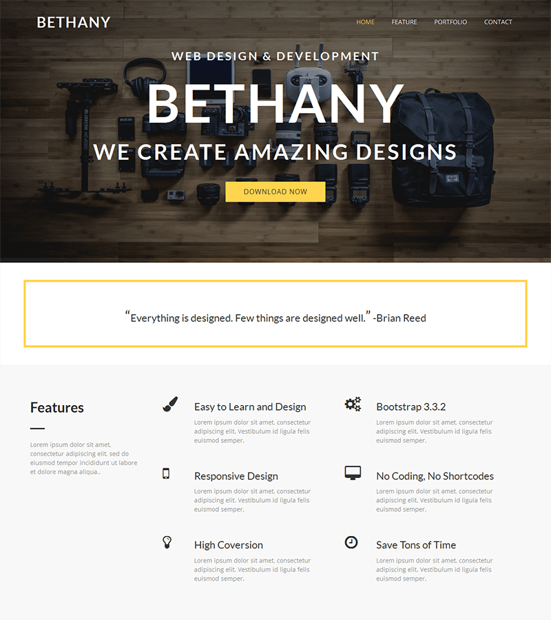 Modern bootstrap landing page template