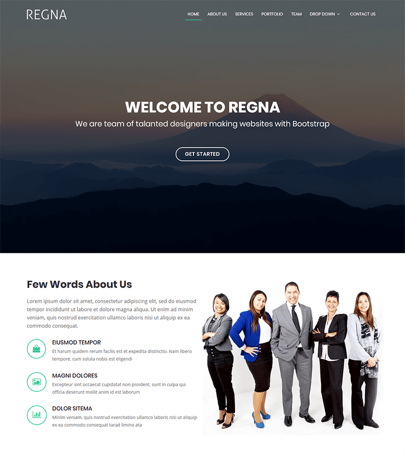 One page bootstrap landing page template