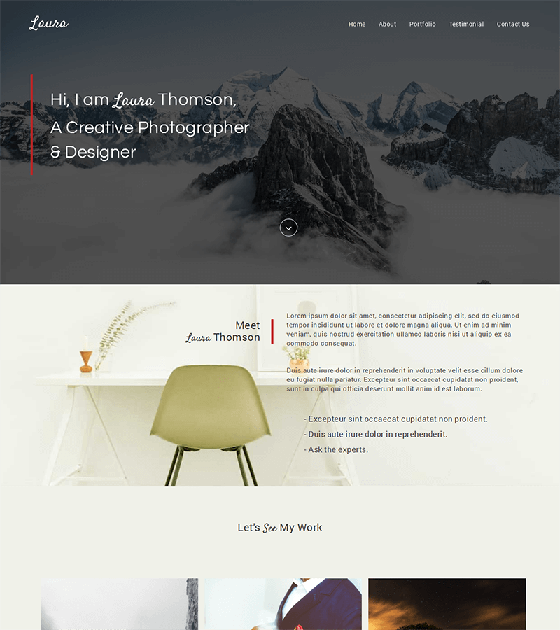 Bootstrap landing page template for photographs