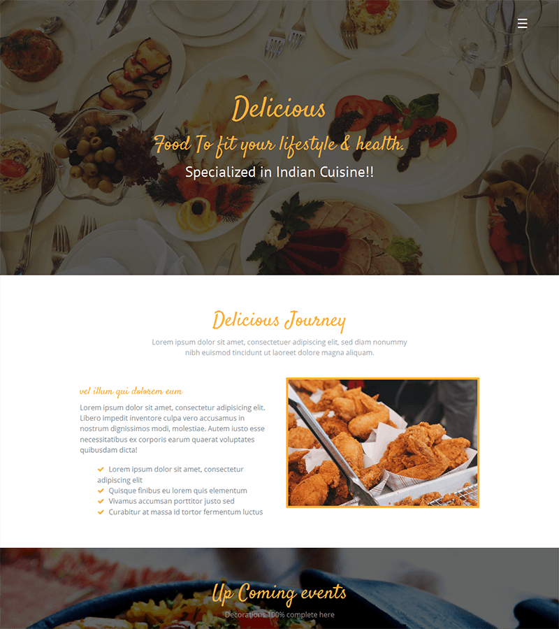 Bootstrap landing page template for restaurant