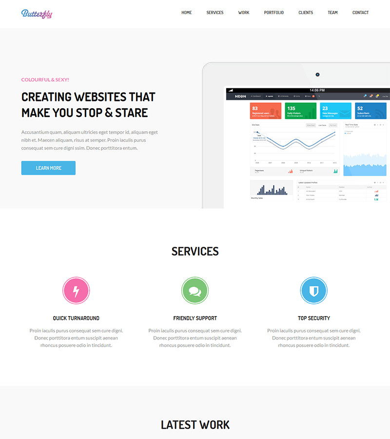 Bootstrap landing page template for SaaS startup