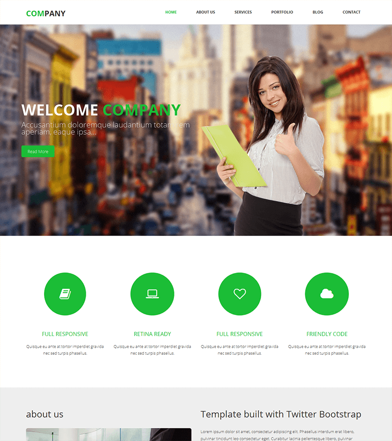 Bootstrap landing page template for SMBs
