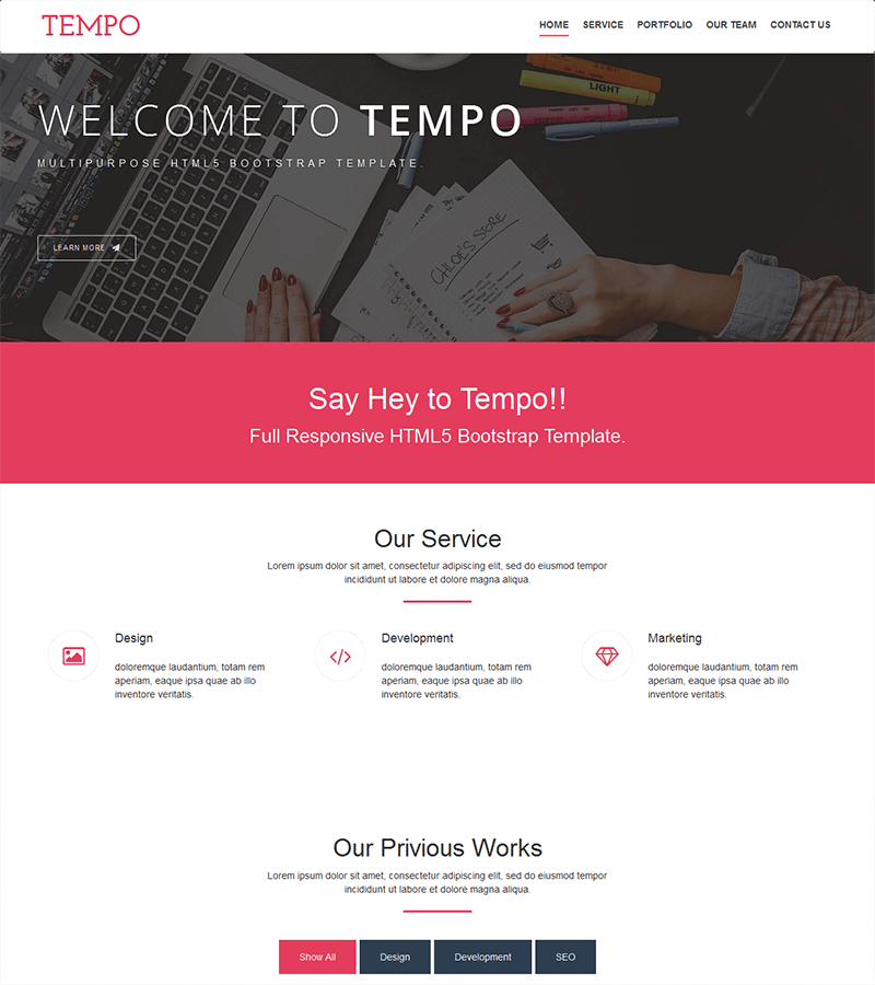 Bootstrap landing page template example