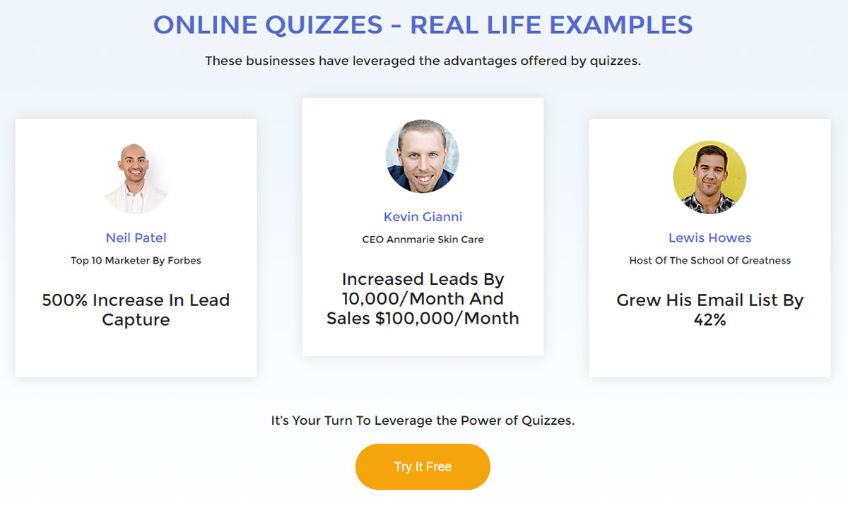 Design Landing Page Lead Quizzes Social Proof