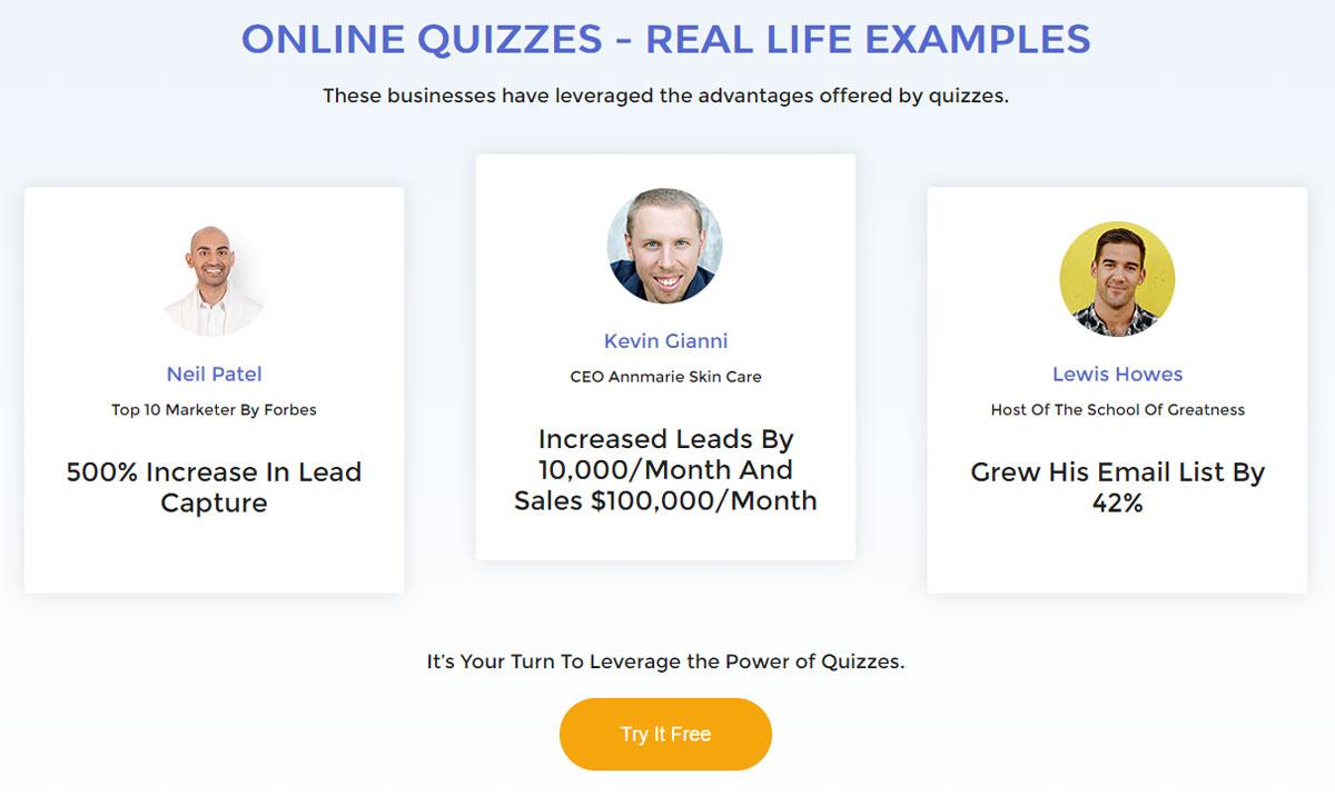 Design Landing Page Lead Quizzes Social Proof