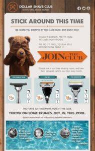 Warenkorb dollar shave club e-mail