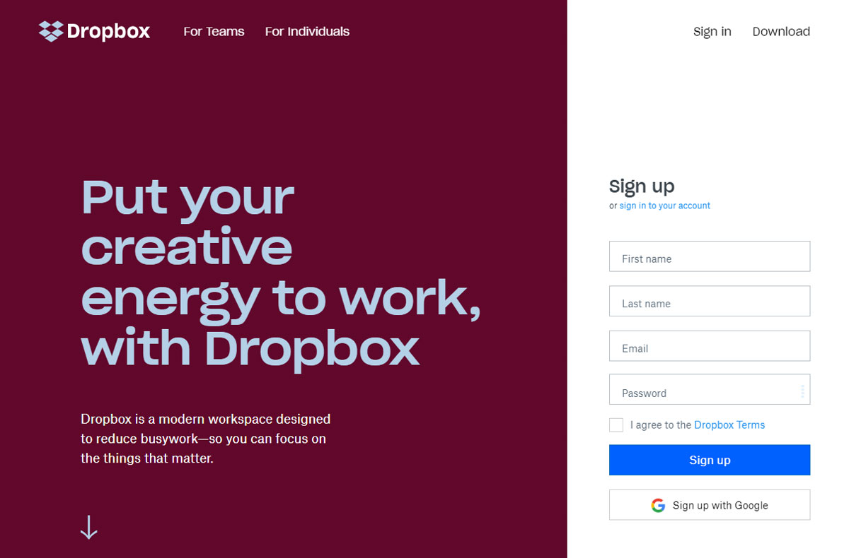 Call-to-action Dropbox