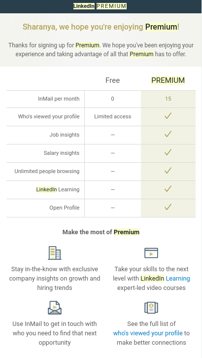 LinkedIn ejemplo de ventajas