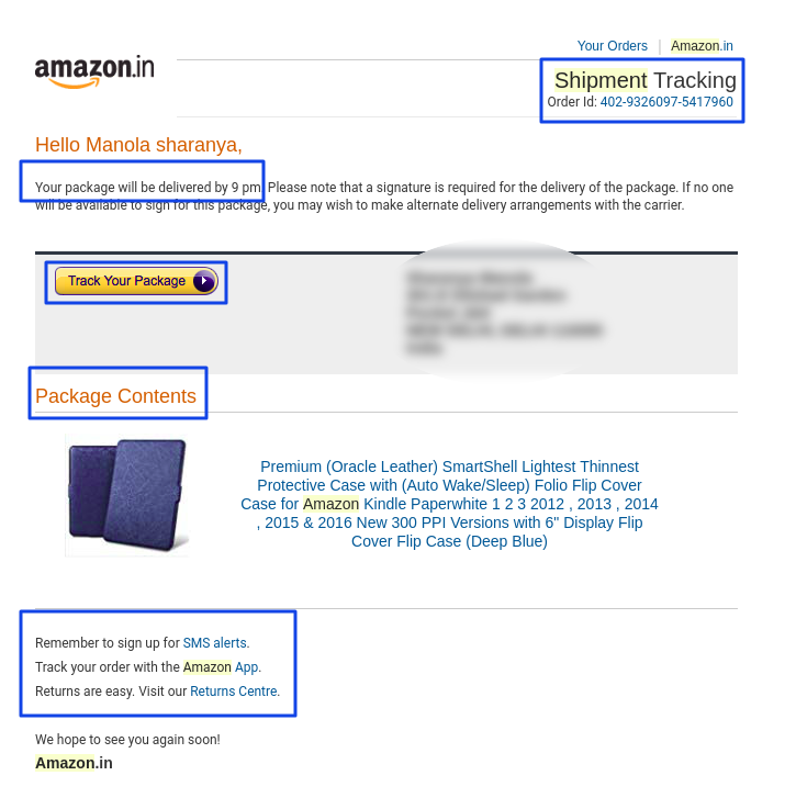 Amazon example for shipping