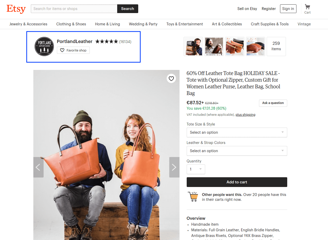 Etsy social proof