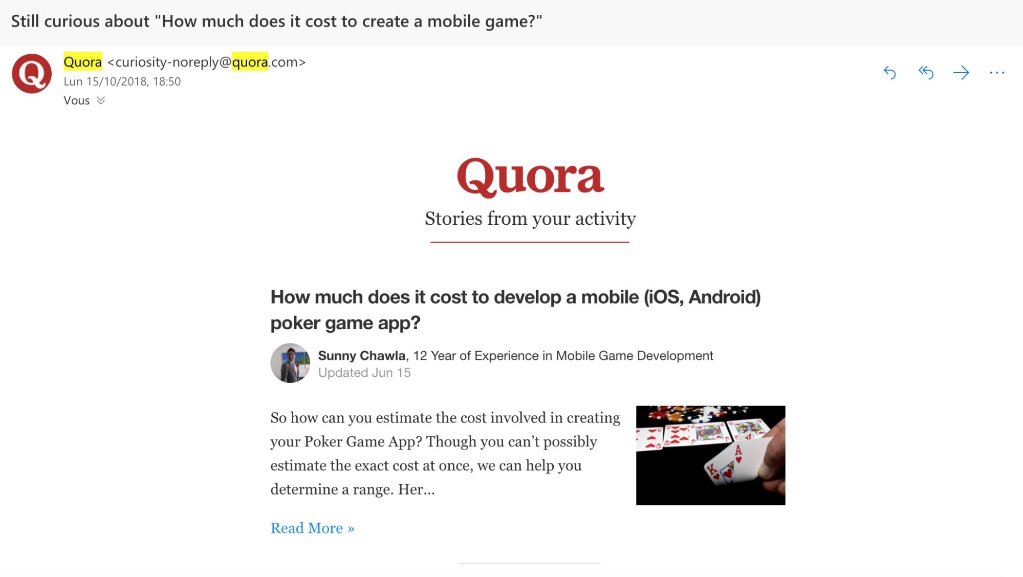 Ejemplo de personalización de Quora