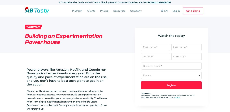 Gated webinar replay example