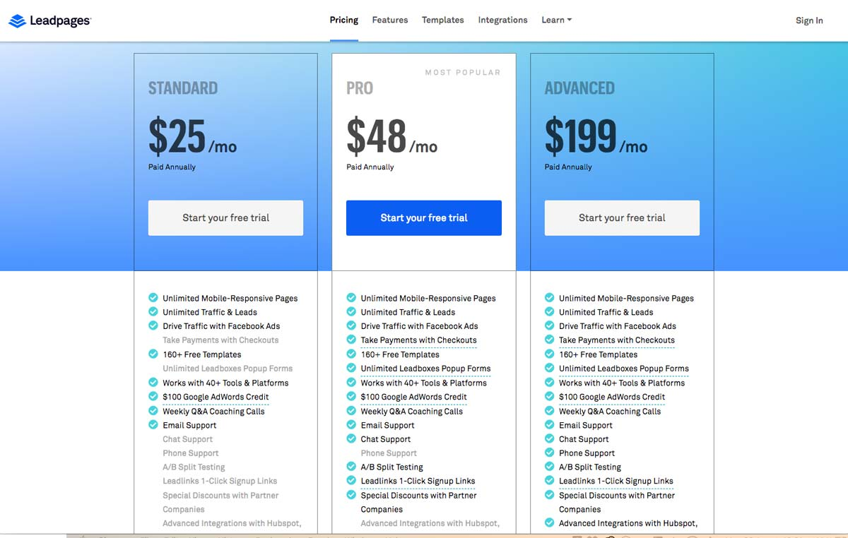 Leadpages Plans & Pricing