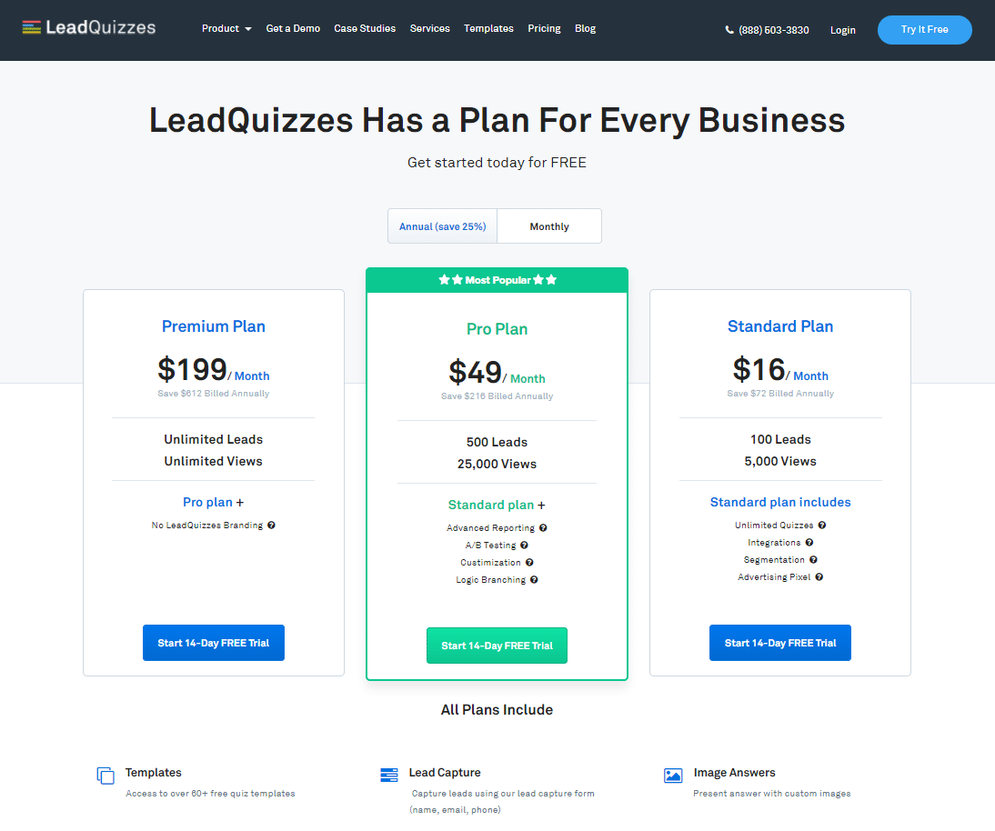 Pricing Page LeadQuizzes