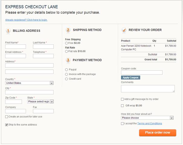 Captura de pantalla que muestra un proceso de pago con pocos pasos o etapas para aumentar la conversión.