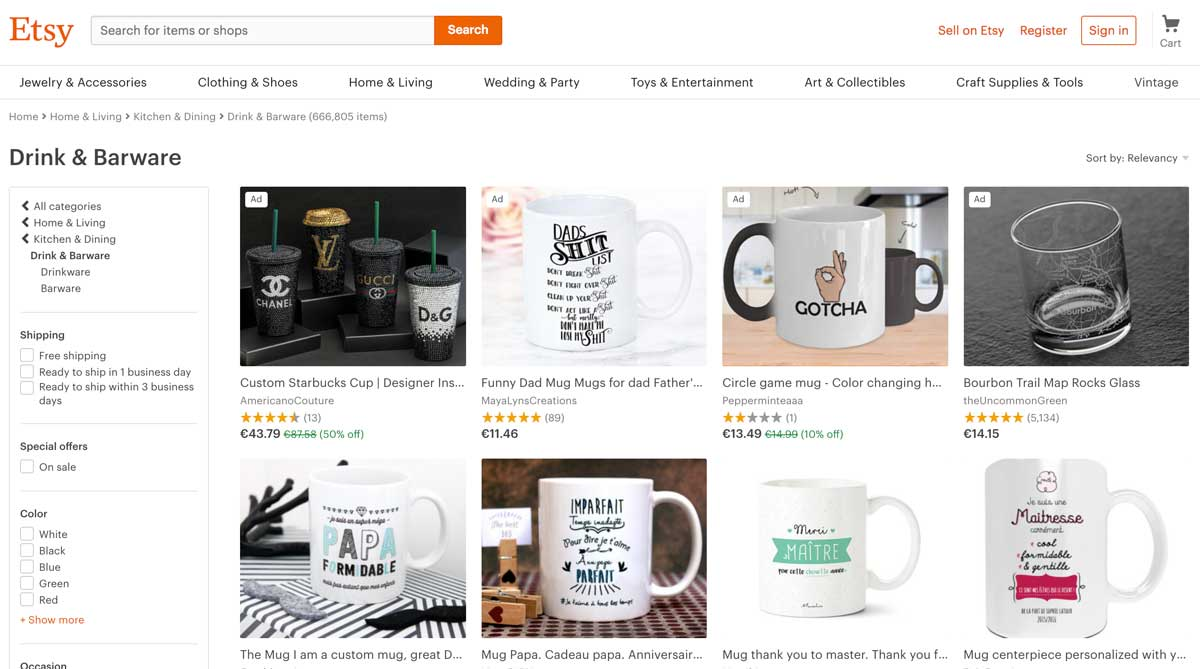 Product listing page example for e-commerce website