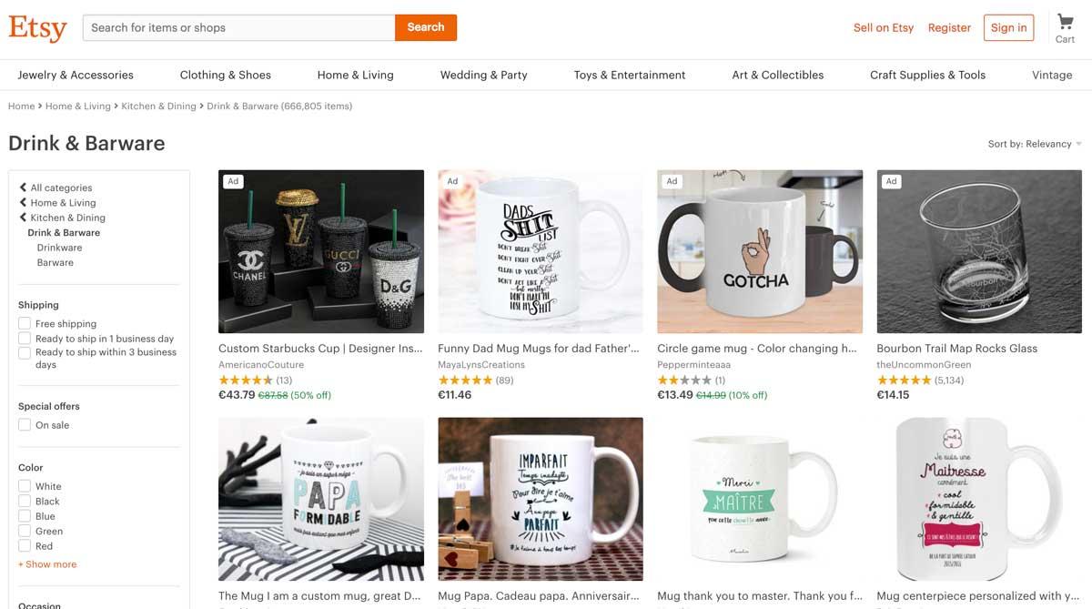 Beispiel für Produktübersichtsseiten für E-Commerce Websites