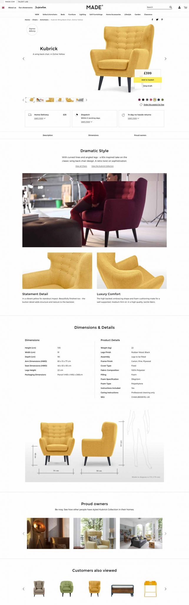 Made.com: Furniture Ecommerce Product Page