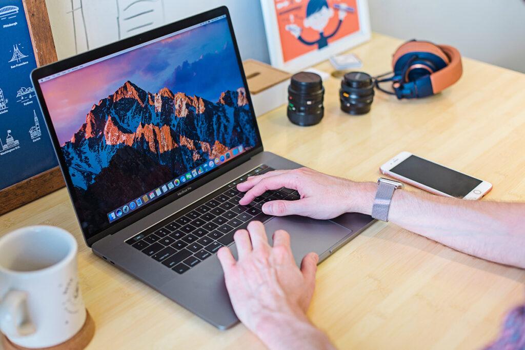 Man writing on computer