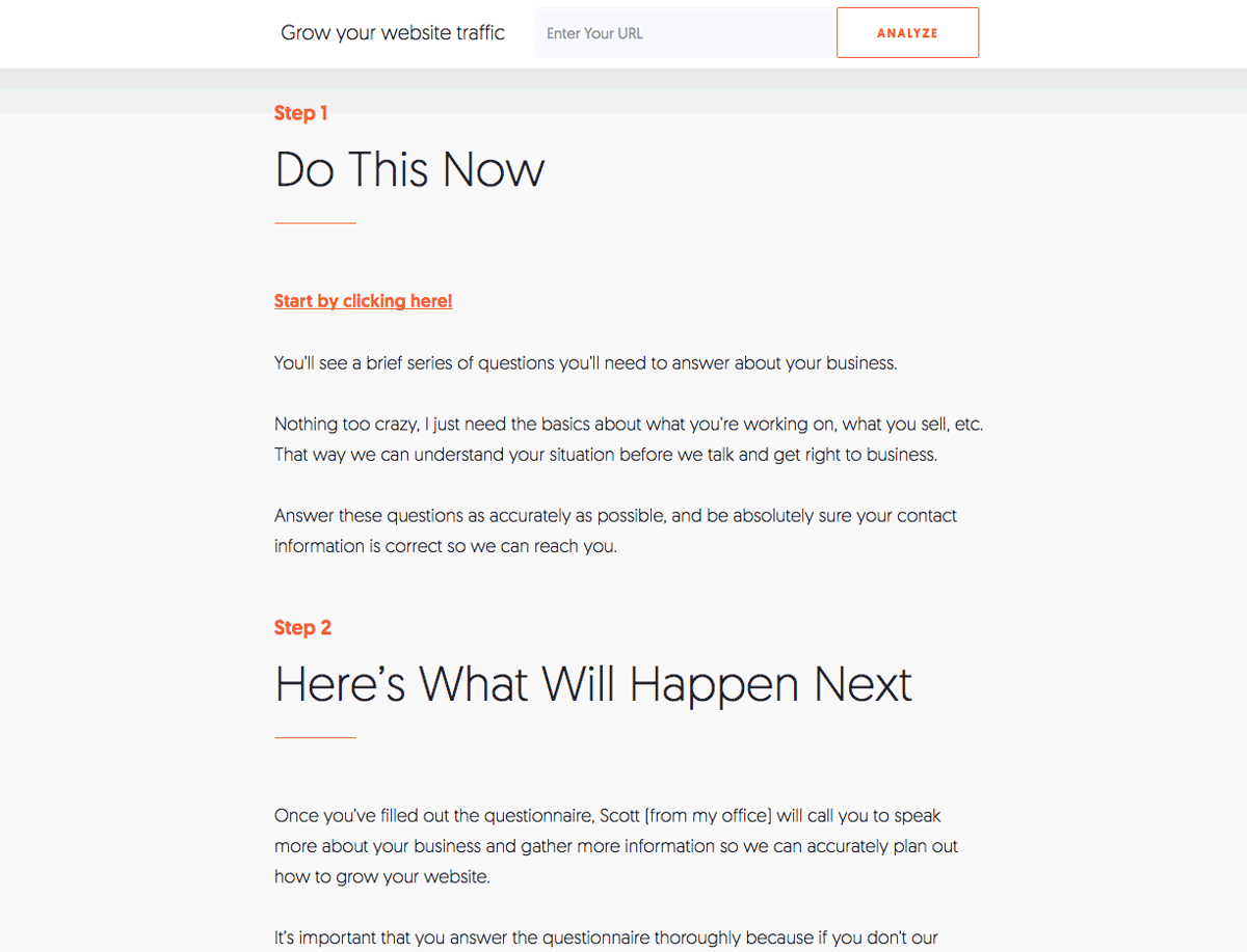Neil Patel Call to Action Design Landing Page