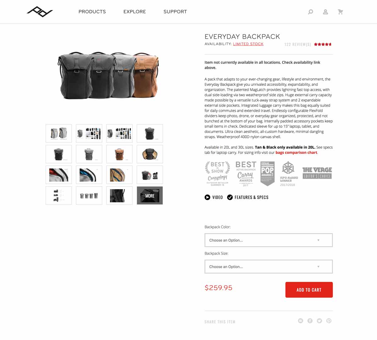 Peak Design Online Product Page