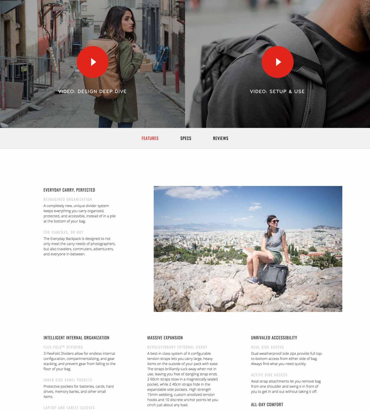 Ejemplo de página de producto de accesorios de viaje