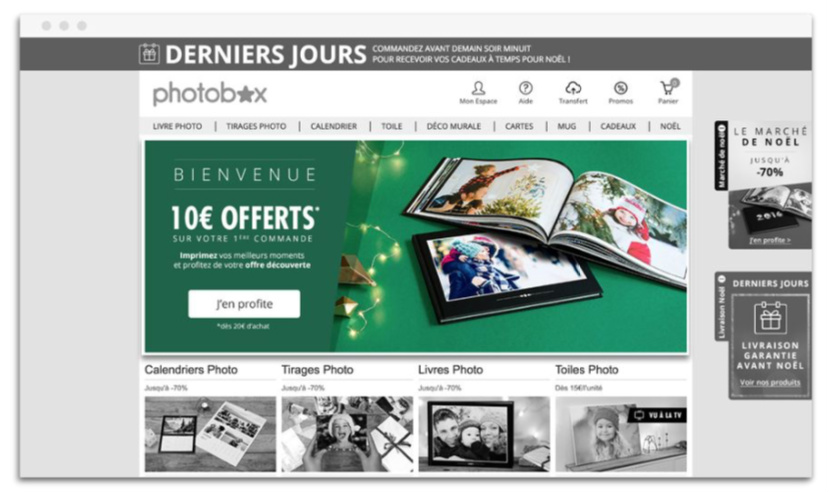 PHOTOBOX Pop Up BIENVENUE 10€ OFFERTS