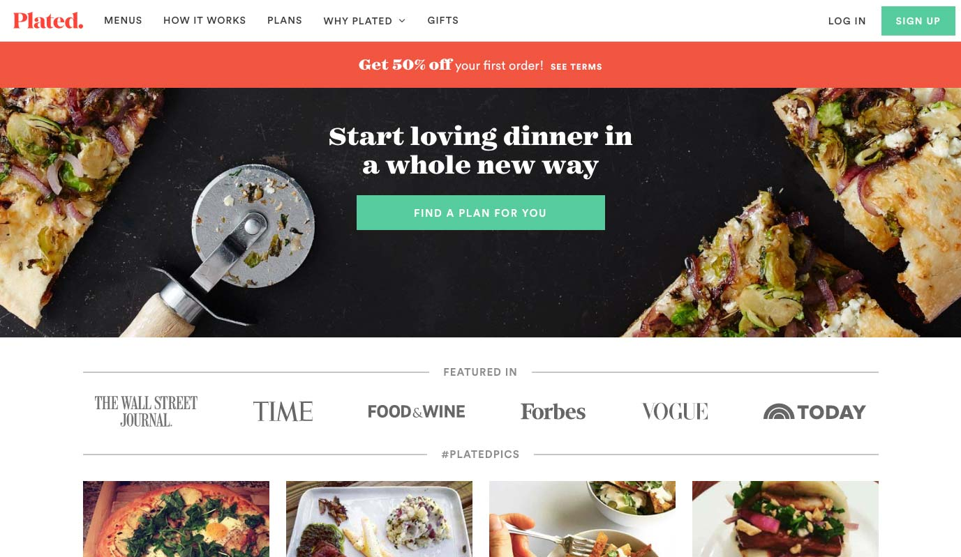Design Landing Page Plated