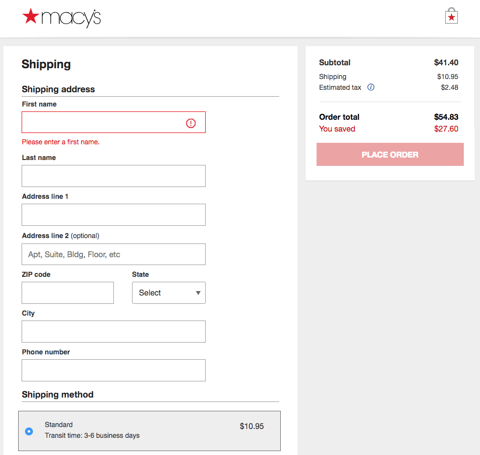 Product sign-up form example