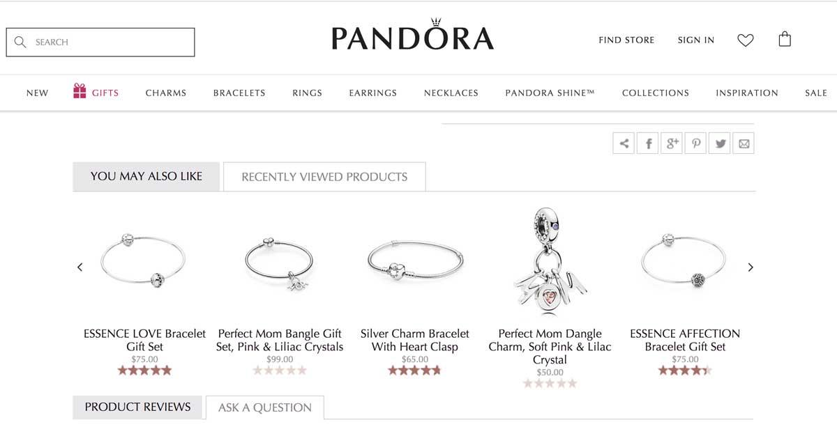 Sección de productos recomendados en la página de producto de Pandora