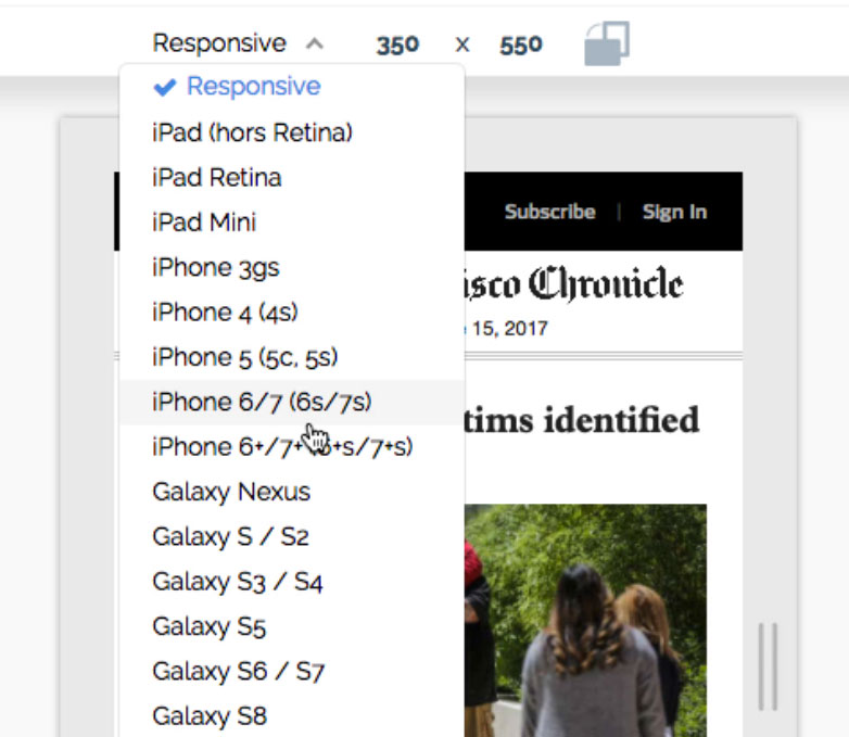 Responsive preview mode - Device List