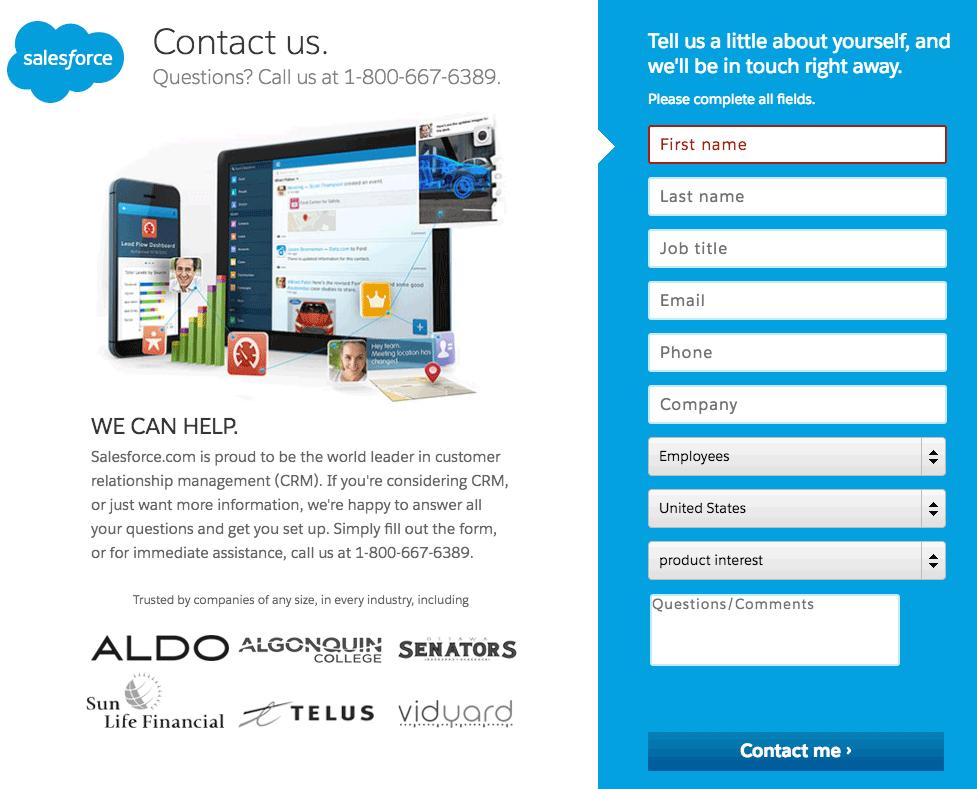 Subscription Form Design Landing Page Salesforce