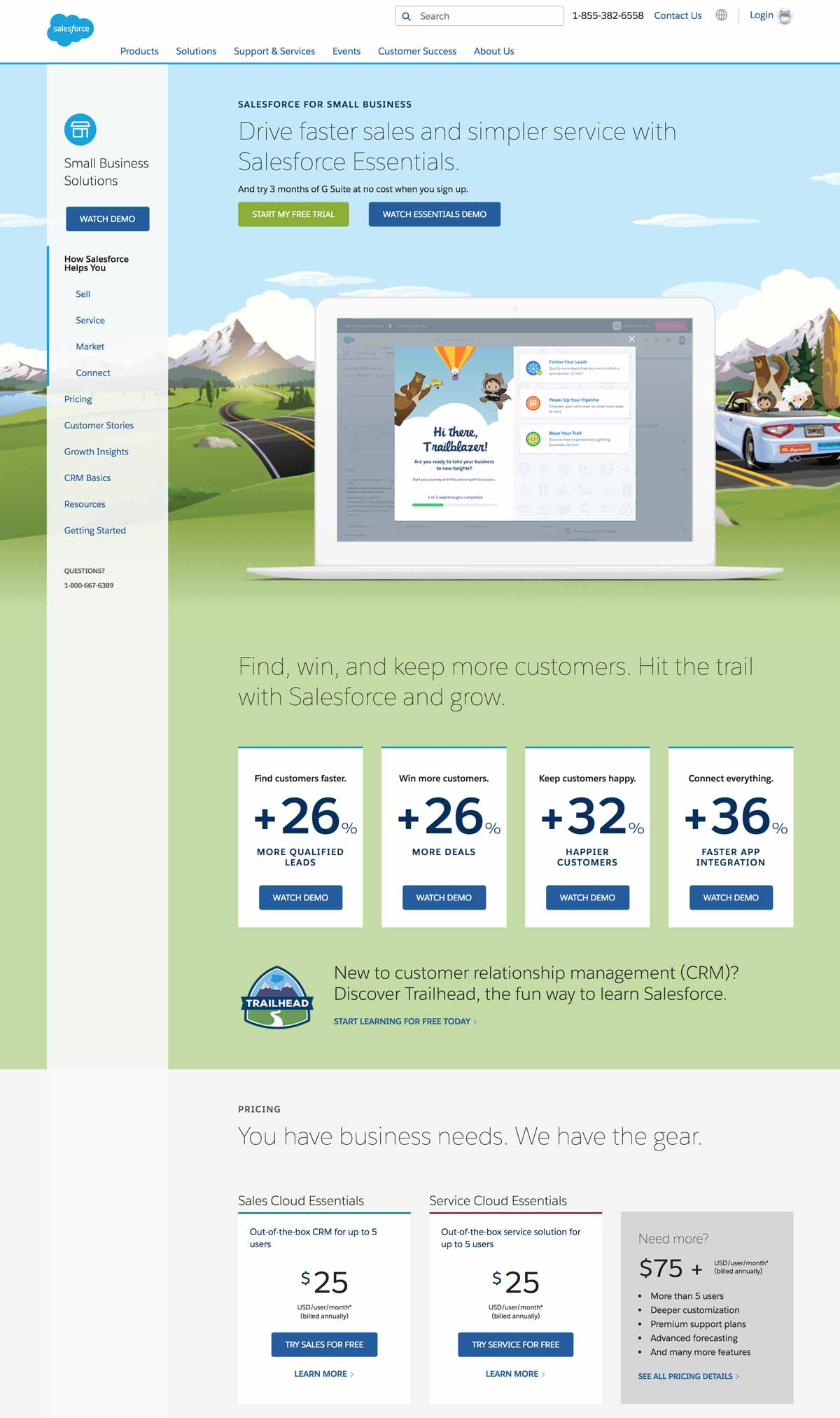 Página de producto de empresa de software