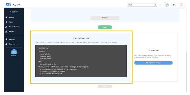Código generado para realizar server-side testing