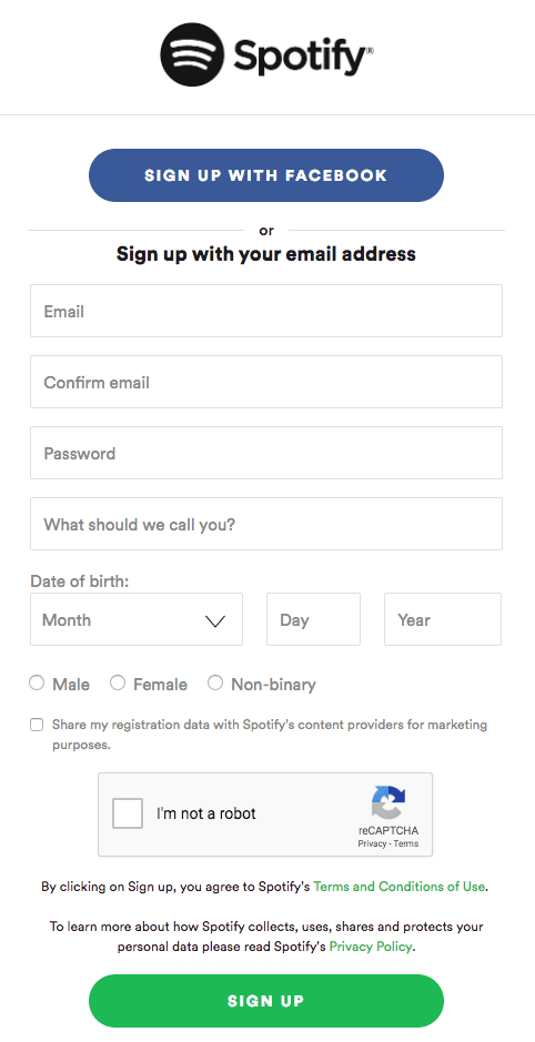 Service sign-up form example