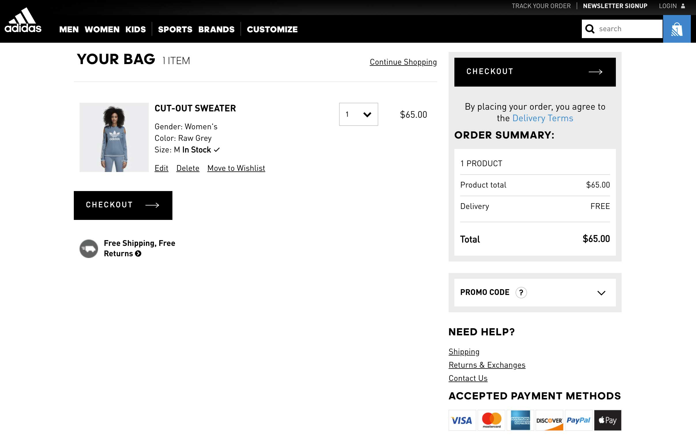 Various payment options on shopping cart page