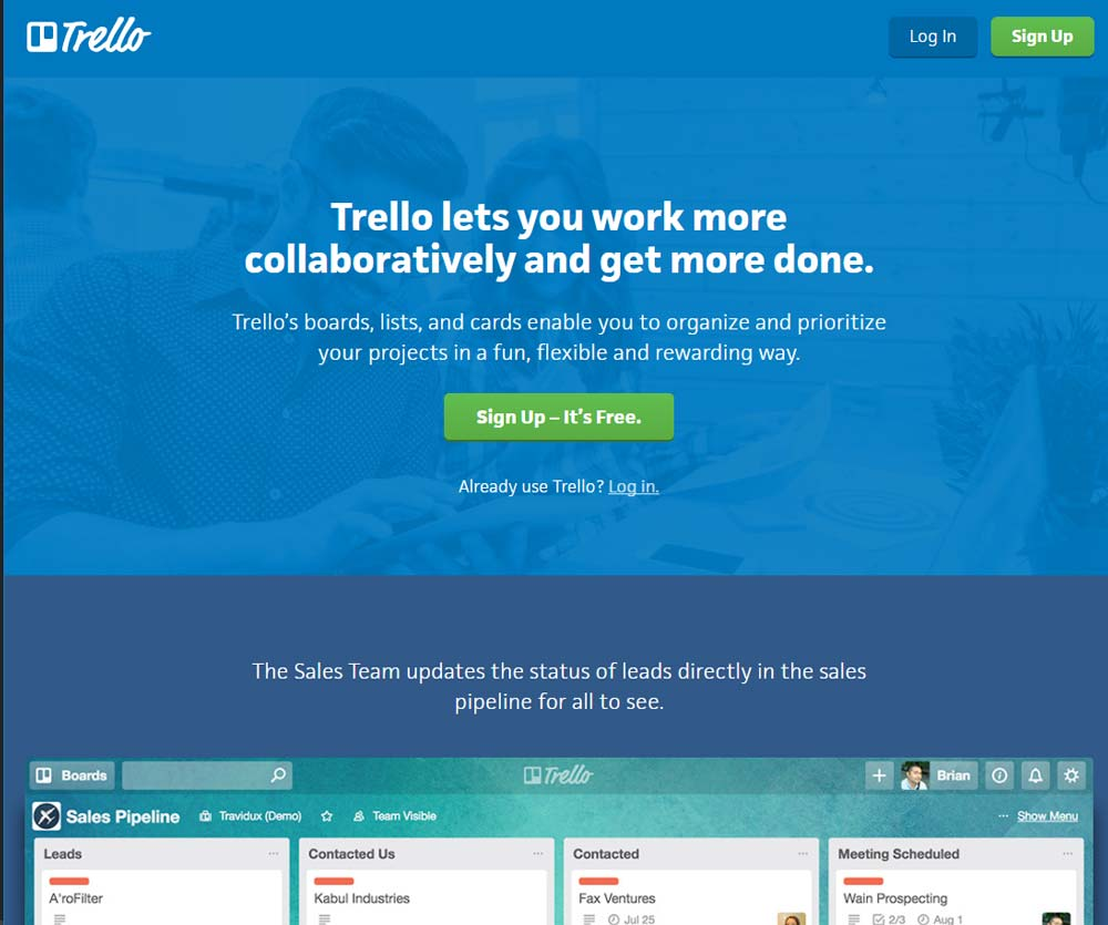 Trello Call to Action Landing Page