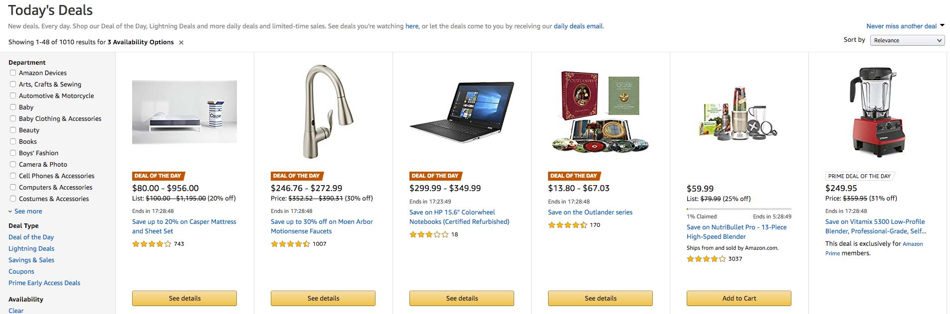 "Amazon highlights ""today's"" deals to create a sense of urgency"
