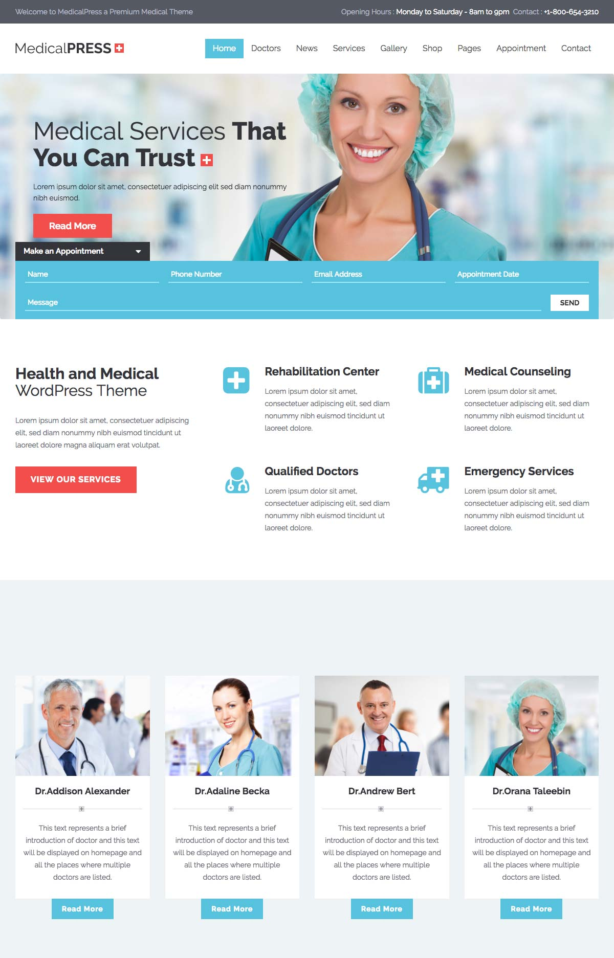 Best WordPress Landing Page Templates In - Medical landing page template