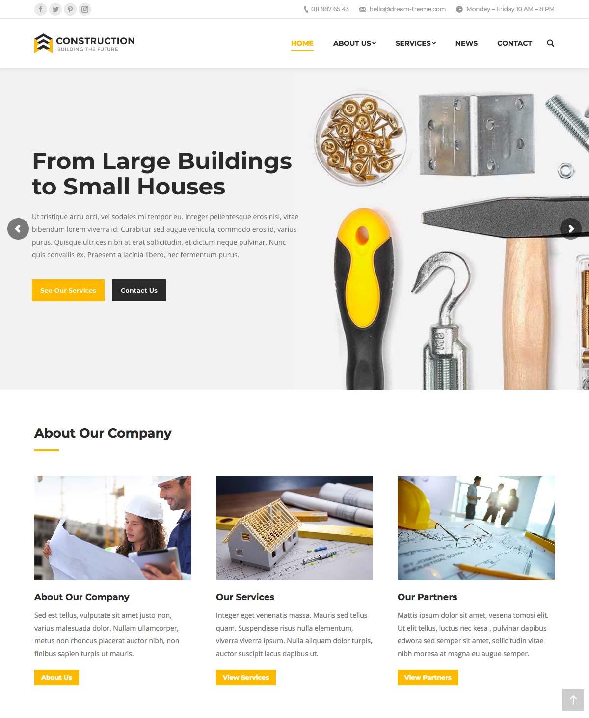 Wordpress Template Landing Page Construction